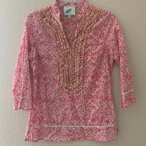 Nurture soft leopard pink studded blouse small
